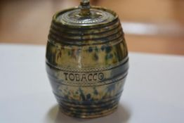 A 19thc Scottish pottery, possibly Methven, tobacco vial with impressed decoration, complete with