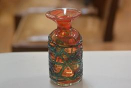 A Michael Harris Mdina glass cylinder vase with flared neck, signed verso Mdina (h.16cm d.7cm)