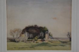 David Murray Smith (1865-1952), RSW., Scottish Landscape, pen highlighted with wash, signed (23cm
