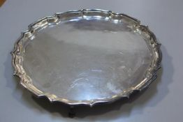 An Epns George III style scalloped serving tray, retailed by AJ Smith of Aberdeen (d.36cm)