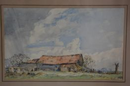 William Palmer Robins (1852-1959), Farmyard View with Saddleback Pigs, signed and dated 1929, in oak