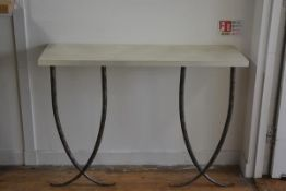 A modern painted top console table, raised on twin anodised metal tapered cross supports (h.98cm x