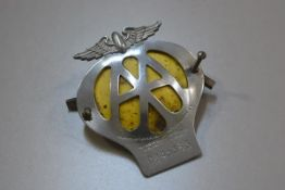 An Automobile Association (AA) chromium plated badge, no. 0845353, complete with original screw