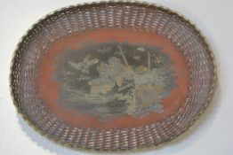A Japanese Meiji bronze enamelled basket tray with bird and chrysanthemum design and woven border (