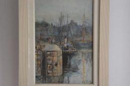 Arabella Louise Rankin (1871-?), Coastal Fishing Boats, watercolour, signed (36cm x 24cm)