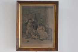 French 19thc School, After Burnet, La Souris e Chappee, 19thc print in rosewood frame with gilt slip