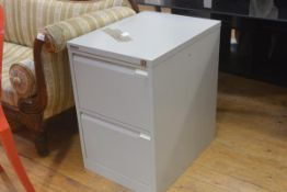 A Bisley two drawer grey anodised metal filing cabinet complete with key (h. 71cm x l. 47cm x d.