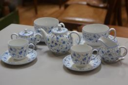 An Arzberg German china blue cornflower pattern breakfast set of eleven pieces, comprising large