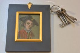 A portrait miniature on paper, Figure with Tricorn hat by Susan Hepworth, in Regency style gilt