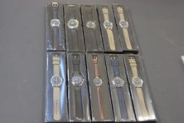 A collection of ten various gentleman's sports wristwatches with quartz movements (new and