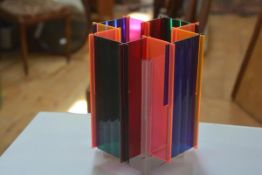 A rare 1960s multicoloured rainbow perspex sectional table lamp with spinning element to top (h.