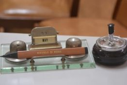 A 1930s plate glass chromium plated desk inkstand complete with two inkpots, date calendar and pen