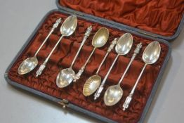 A box containing two Sheffield silver shell bowl apostle spoons, Sheffield 1896 and five various