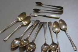 A set of four London Old English pattern teaspoons, for Thomas Wallis and Jonathan Hayne, London