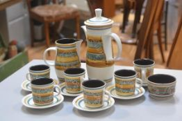 The Rye Pottery Monastery fifteen piece coffee set with stylised decoration in the 1970s taste (