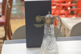 A Bank of Scotland Centenary presentation crystal Epns mounted claret jug, complete with original