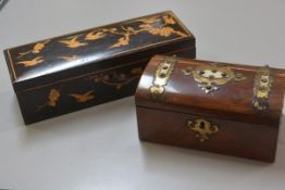 An Edwardian pokerwork style glove box, the rectangular top and front panel decorated with birds and