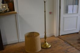 An Edwardian brass telescopic floor lamp on turned centre column, with baluster base, converted to