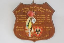 A Jesus College First Length Boat Race Trophy 1970, the handpainted plaque with college coat of