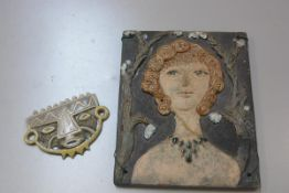 Carolina Valvona, a pottery portrait plaque, Lady with blonde curled hair in an Arbour (26cm x
