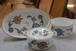 A Royal Worcester flameproof porcelain oval serving dish, souffle dish and two handled tureen,
