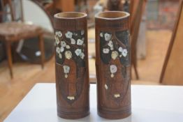 A pair of Japanese bamboo cylinder brush washer style pots decorated with female figures, with inset