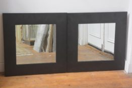 A pair of faux crocodile skin framed square wall mirrors (61cm x 61cm)