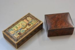 An Anglo Indian treen micromosaic inlaid and painted rectangular box (h. 4cm x l. 17cm) and an elm