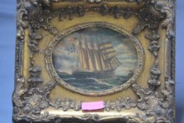 A period style print of a ship in full sail, in a gilt-composition frame. Overall 24cm by 28cm