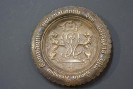 Railwayana: an unusual bronze plaque or dish, late 19th century, for the Internationale des Wagons