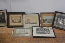 A box containing a quantity of framed prints and photographs, a vintage set of fairy lights; and a