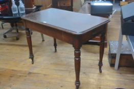 A Victorian mahogany side table, the rounded rectangular top above a plain frieze, raised on ring-