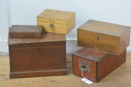 A group of five mahogany and other instrument boxes, various sizes and dates (5). Largest 26cm by