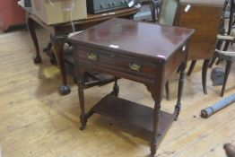 An Edwardian mahogany tray top side table, the rectangular top over a frieze drawer, raised on