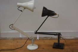 A Herbert Terry type black anglepoise lamp, on stepped square base; together with a later grey