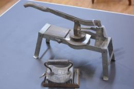 """An American 19th century hand fluter, """"Geneva Hand Fluter"""" (ironing), together with a vintage French"""