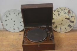 An HMV mid-century mahogany cased portable gramophone; together with two 19th century painted