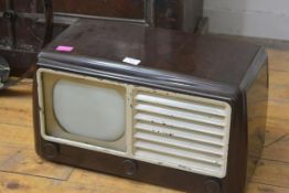 An early G.E.C. table top television receiver, c. 1950. 31cm by 52cm