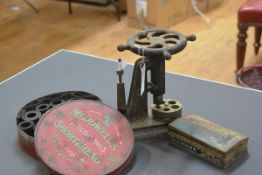A 19th century jeweller's ring stretcher, cast-iron, Pinfold's Patent; together with two vintage