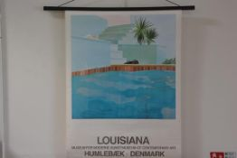 "After David Hockney (b. 1937), a lithograph exhibition poster ""Louisiana, Museum for Moderne"