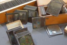 An extensive mixed collection of late 19th/early 20th century lantern slides, wide variety of topics