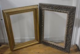 A carved Rococo style rectangular composition frame with distressed finish ( 59cm by 41cm) and a