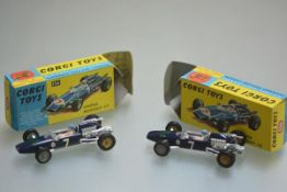 A pair of Corgi Toys Maserati F/1 model racing cars complete with original boxes. 9cm length
