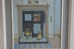 Jean Miller, The Kitchen Fireplace, oil on panel (48cm x 43cm)