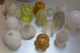 A collection of fourteen various globe crimped light shades including two vaseline glass (a lot)