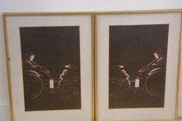 Two Japanese sewn work panel depicting figures in rickshaws (39cm x 25cm) (2)