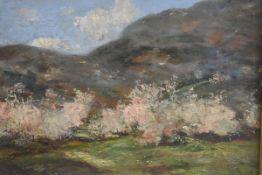 Gustztav Magyar Mannheimer (1859-1937), Cherry Trees in Bloom, oil on panel, signed (30cm x 38cm)