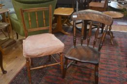 A 19th century spindle back ash kitchen chair (legs cut) and an Edwardian beech framed spar back