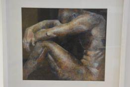 Susan MacArthur, Male Nude on dark blue background, mixed media (37cm x 42cm)