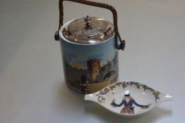 A Villeroy & Bosch design 1900 lug dish and a NHP china biscuit barrel with raffia handle and Epns